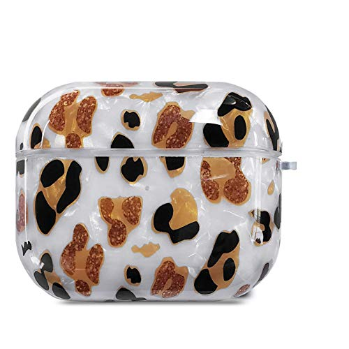 AirPods Pro Case,J.west Luxury Sparkle Leopard Print Cheetah Pattern Translucent Soft TPU Protective Cover Accessories Skin Kit Women Teens Girls for AirPods 3rd 2019 Pro Charging Case White