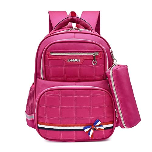 Tianzhi Hombros Doble Encantador Bolso de Escuela Backpackage Bolsa con la Pluma Bolsa (Rosa Azul) (Color : Rose Red)