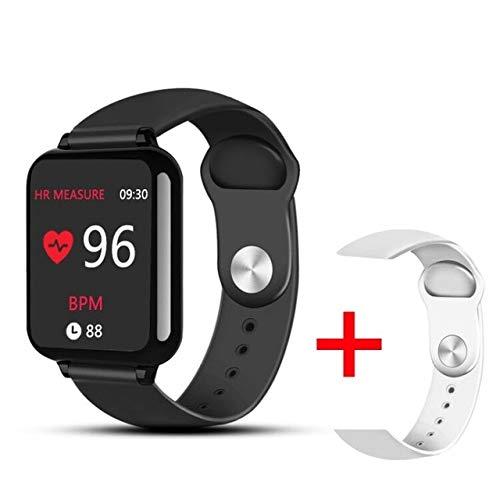 SMSTG Montres intelligentes Sports imperméables pour iPhone Phoneheart Rate Monitor Fonctions de la Pression artérielle pour Les Femmes Hommes Kid b Ajouter 1 Sangle Blanche