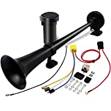 Neliong 12V 150db Air Horn, 18 Inches Chrome Zinc Single Trumpet Train Horn Trucks, Air Horn with Compressor for Any 12V Vehicles Trucks Lorrys Trains Boats Cars(Black)