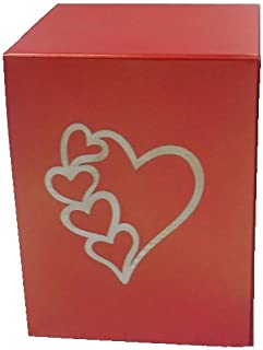 Liliane Memorials Red Hearts Niche Cube Box Funeral Urn Full Size but Small Footprint Square Cremation urn fits in Niche or Library - 5.5