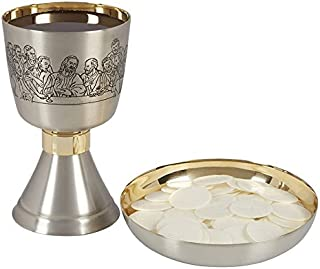 Last Supper Sudbury Brass Etched Chalice and Bowl Paten Set