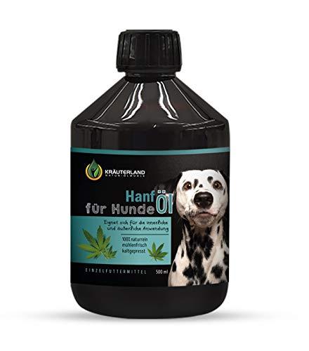 Kräuterland - Premium Hanföl für Hunde 500ml - 100% rein, kaltgepresst, mühlenfrisch ohne Zusätze - Barf Ergänzung & Fellpflege