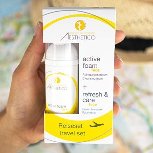 AESTHETICO Reiseset - praktische Hautreinigung für unterwegs in 2x 50ml, AE refresh and care und AE active foam in Reisegröße (auch als Handgepäck im Flugzeug)