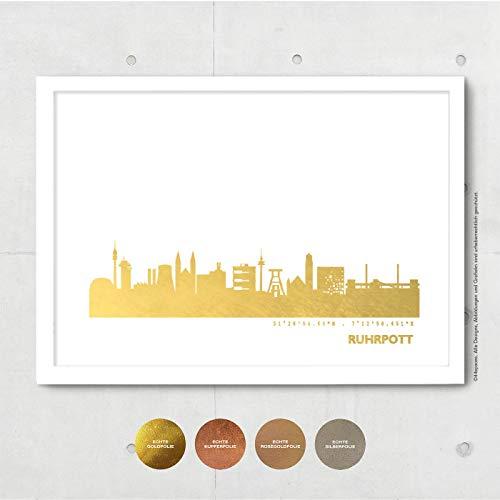 Ruhrgebiet Skyline Bild Wandeko, Personalisierte Geschenkidee für Besondere Anlässe in S/W Rose Gold Silber Kupfer - Pesönlicher Text & Rahmen A4/A3