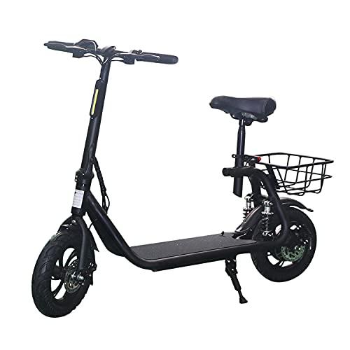 LuvTour Patinete Electrico Adultos con Asiento y Canasta, 350W E-Scooter Plegable 30Km/h, 35Km de Autonomía, 3 Modos de Velocidad, Neumáticos de 12', Doble Suspensión, Frenos de Disco (Negro)