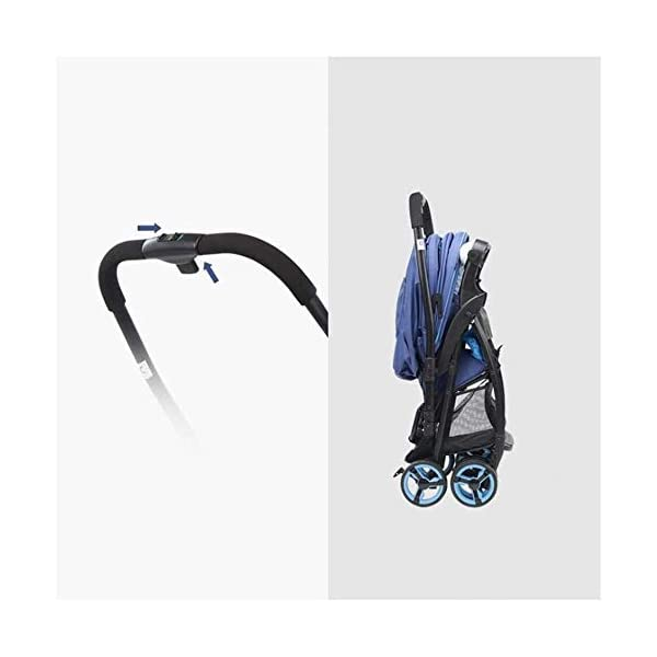 LAMTON Baby Stroller for Newborn, Two-Way Pushchair, Baby Stroller, Reclining, Folding, Shockproof, Lightweight,pram Baby Stroller Buggy,Folding (Color : Blue) LAMTON Adjustable handlebars for people of all heights can adjust the most comfortable push position Easy to fold, can be picked up in the trunk of the car, his parents urge him to go shopping, travel, walk, play and talk, or picnic outdoors 1. Steel pipe and oxford material ,Two-way push,Adjustable backrest angle, can sit and lie down 3