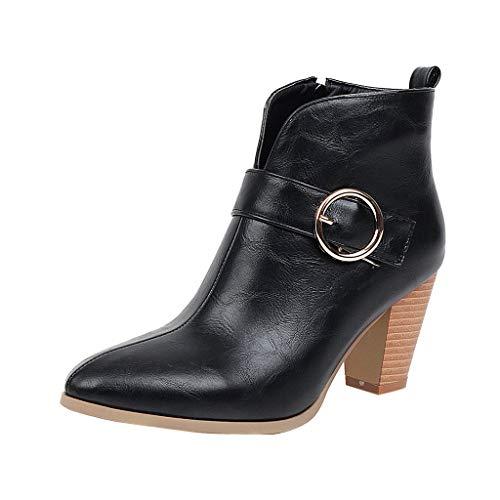 MOTOCO Damen High Heel Stiefeletten Fashion Block High Heel Volltonfarbe Knopf Leder Spitz Reißverschluss Booties(36 EU,Schwarz)