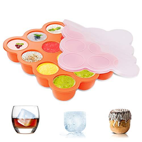 ZOUNICH Silikon Babynahrung Aufbewahrung Behälter, Silikon Babybrei Einfrieren mit Silikondeckel Behälter Gefrierschrank Tray, Wiederverwendbare - Gemüse, Obst Purees, Brust Milch und Eiswürfel