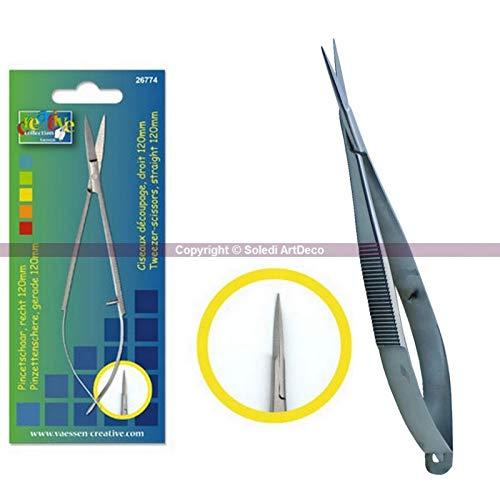 Vaessen creatieve pincet, recht, kant, lengte 12 cm, van chirurgisch staal