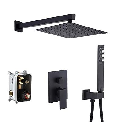 KES Pressure Balancing Rain Shower System Rough-in Valve Trim Kit Shower Faucet Set Complete Square Matte Black, XB6230-BK