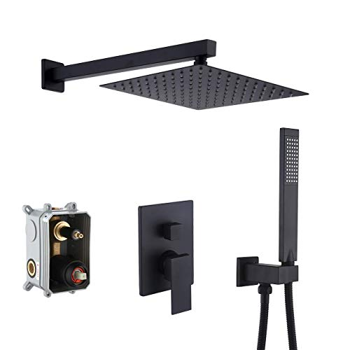 KES Shower Faucets Sets Complete Matte Black Shower System 10 Inches Rain Shower Head with Handheld Shower Valve and Trim Kit Pressure Balance, XB6230-BK