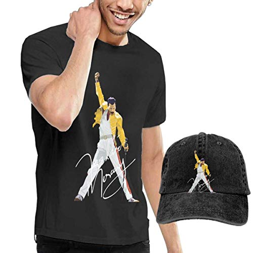 Thimd Camiseta de Manga Corta para Hombre,Gorra de béisbol Combinación Negro Freddie Mercury T Shirts and Washed Denim Baseball Dad Hat Black