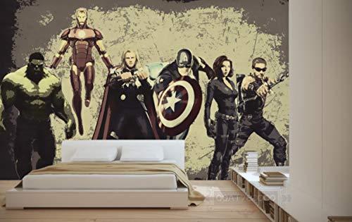 Vintage Avengers fotobehang, wandfoto, helden, wallpaper, interieur, kunst, decoratie slaapkamer (H)350*(B)245cm Pro