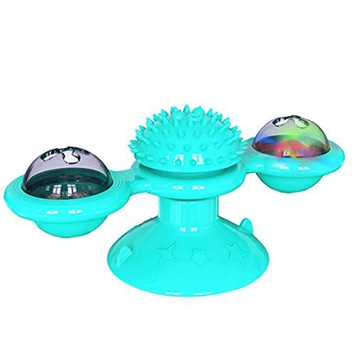 Techting Pet Windmühle Drehscheibe Teasing Spielzeug Verkratzen Tickle Spielzeug Saugnapf Drehbare Windwill, See-Blau