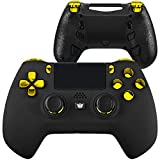HexGaming Black Gold Custom Esports Hyper Controller 4 Paddle Buttons & Interchangeable Thumbsticks & Triggers Stop for PS4 Custom Controller PC Wireles FPS Gaming Gamepad