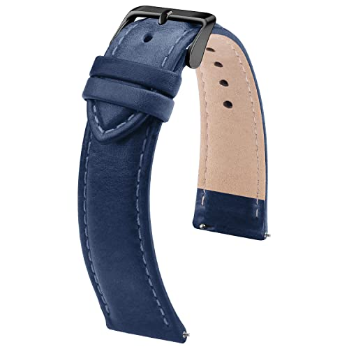 Fullmosa Correa de reloj de 22 mm, correa de cuero, correa de repuesto intercambiable para hombre y mujer, 22 mm, azul oscuro + hebilla negra