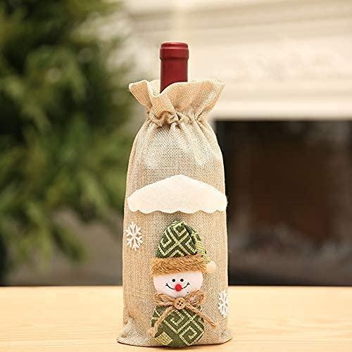 HVKLHNF Bolsa de vino de Navidad, diseño de muñeco de nieve de reno de hombre viejo, bolsa de vino, bolsa de champán, decoración de mesa de fiesta de Navidad (color beige)