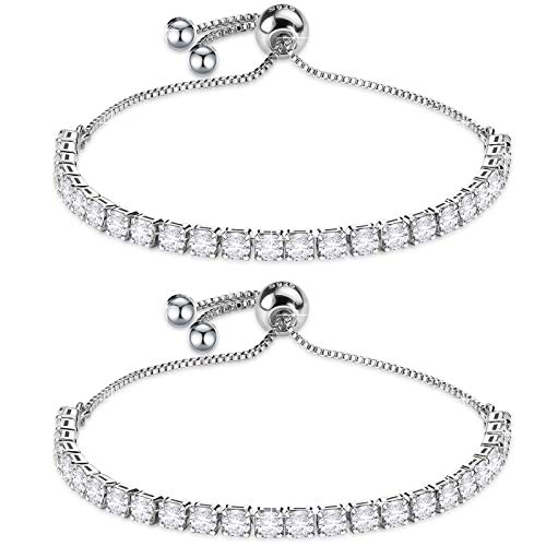 J.Fée 2PCS Sterling Silver Tennis Zirconia Bracelet Shining Adjustable Bracelet with Meaning Card Christmas Gift Simulated Diamond Crystal,D Color, VVS Clarity