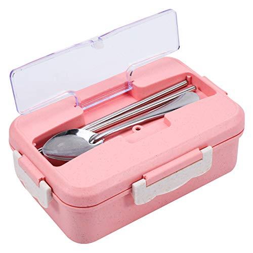 SUSSURRO Fiambrera con 3 compartimentos, a prueba de fugas, para niños y adultos, apta para microondas (rosa)