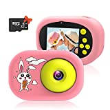 Ushining Kids Selfie Camera Children Action Camera with Case Christmas Birthday Gifts for 3-12 Year Old Girls and Boys Toddler Video Camcorder with 32GB SD Card (Pink Rabbit)