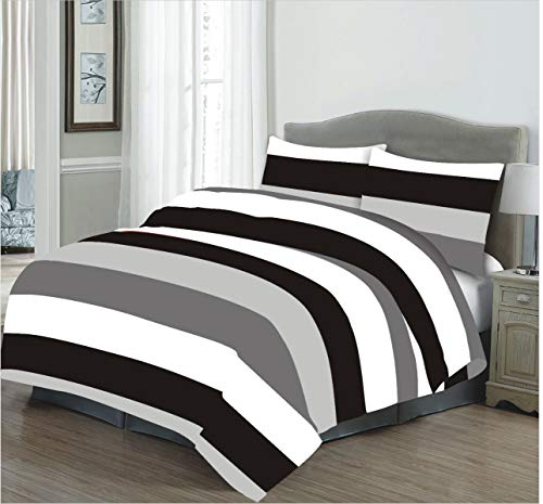 RayyanLinen VANICE Stripes Charcoal Grey White Black Printed Duvet Cover Bedding Set with Pillowcases (Double)