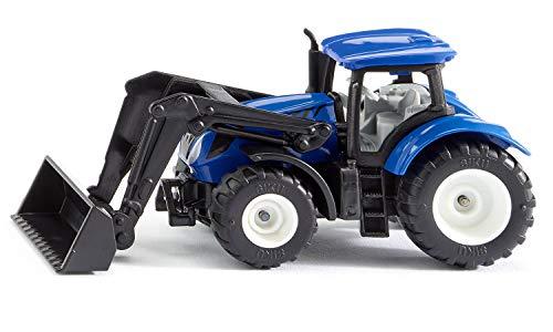 Siku 1396, New Holland Traktor mit Frontlader, Metall/Kunststoff, Blau/Schwarz, Beweglicher Frontlader, Anhängerkupplung