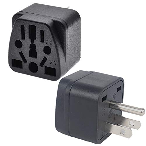 (2PACK) US Travel Plug Adapter EU,AU,UK,NZ,CN,in to USA (Type B), Grounded 3 Prong USA Wall Plug, EU to US Travel Adaptor and Converter, Power Outlet Charger,Wall Outlet Power Charger Converter Black