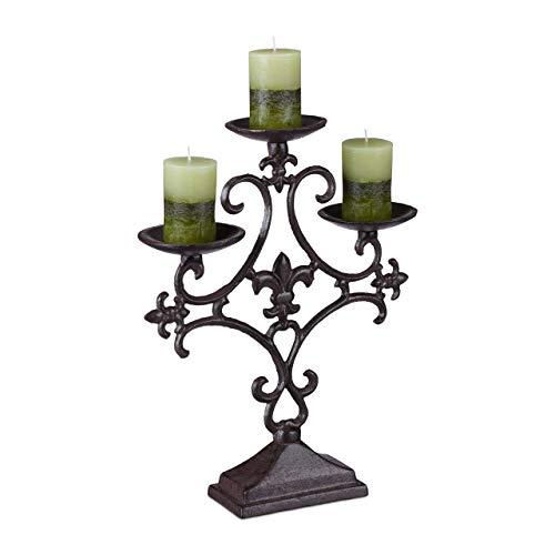 Relaxdays Kerzenständer antik, 3-Armiger Kerzenleuchter, Outdoor Kerzenhalter, Tischleuchter,...