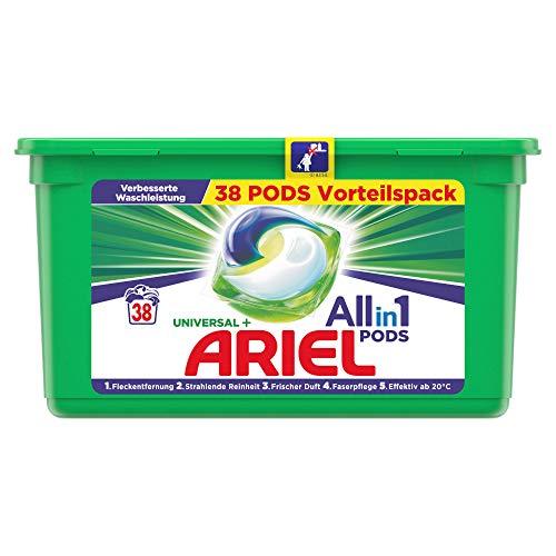 Ariel Waschmittel Pods All-in-1, Universal, Frischer Wäscheduft und strahlende Reinheit, 38 Waschladungen