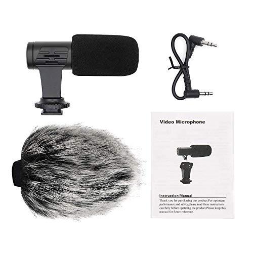 Fransande - Microfono portatile per fotocamera, per registrazione di microfono di intervista, video di capelli per smartphone Android, fotocamere reflex digitali