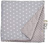 LULANDO Copertina da neonato Coperta per bambino 100% cotone (100x140 cm). Super morbido e soffice, materiale antiallergico, traspirante, Oeko-Tex Standard 100 , Colore: Grey - White Stars / Grey
