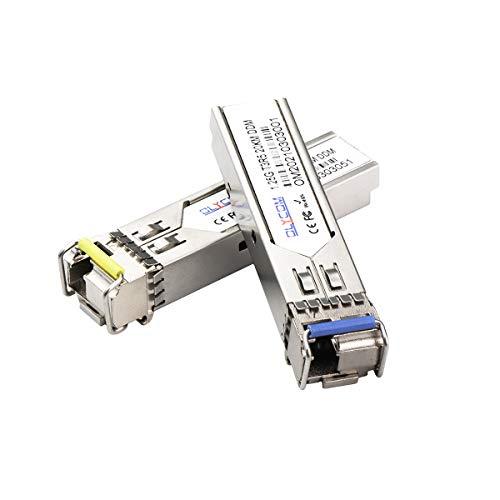 Un par de transceptores de fibra única SFP Bidi 1.25G 1310nm/1550nm SMF LC conector hasta 20 km para interruptores abiertos