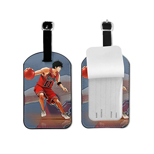 Slam Dunk Leather Luggage Tags Suitcase Tag With Full Privacy Name ID Card Valise Bendable Tag