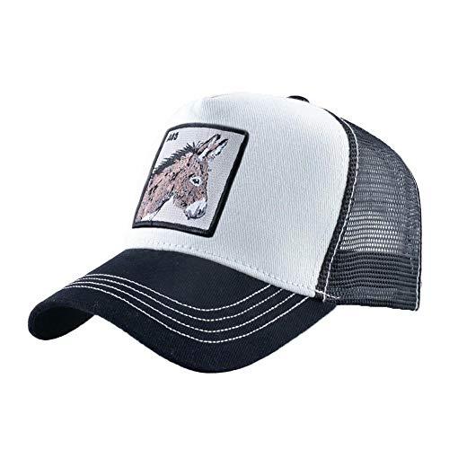 Unisex Animal Mesh Trucker Hat Snapback Embroidered Patch Baseball Caps (Black White Ass)