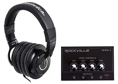 Audio Technica ATH-M40x Studio Monitor Headphones+4-Way Distribution Amplifier