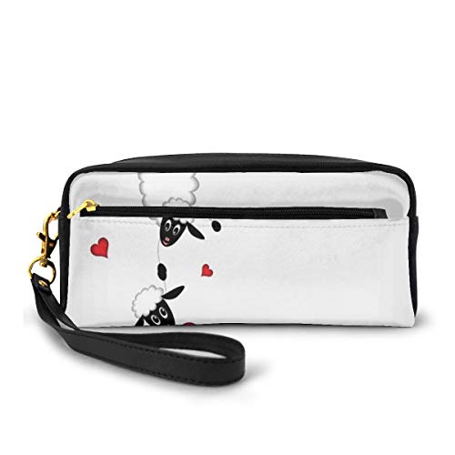 Pencil Case Pen Bag Pouch Stationary,Sheep Couple with Heart Shapes in Love Valentines Hanging on Fun Comic Cartoon,Small Makeup Bag Coin Purse