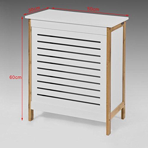 SoBuy® Wäschetruhe weiß+natur, FSS66-WN, 50x30x60cm - 2