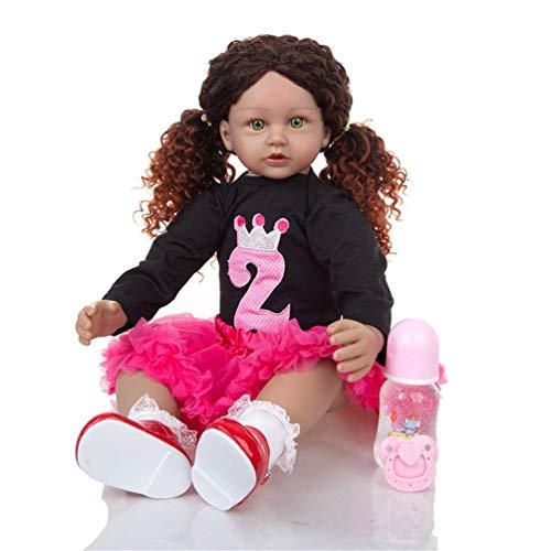 Muñecas de bebé de 60 cm realistas con pelo largo realista de vinilo de silicona para niños pequeños y niñas de 3 años o más de 3 años