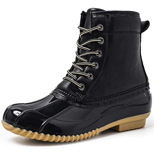 Housking Women's Winter Duck Boots, Outdoor Waterproof Mid Calf Rain Booties with Warm Fur Black