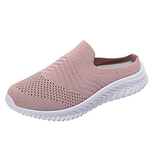 URIBAKY - Zapatos de senderismo para mujer, zapatos de ocio, transpirables, suaves y cómodos, para exteriores, para senderismo, rosa, 41 EU