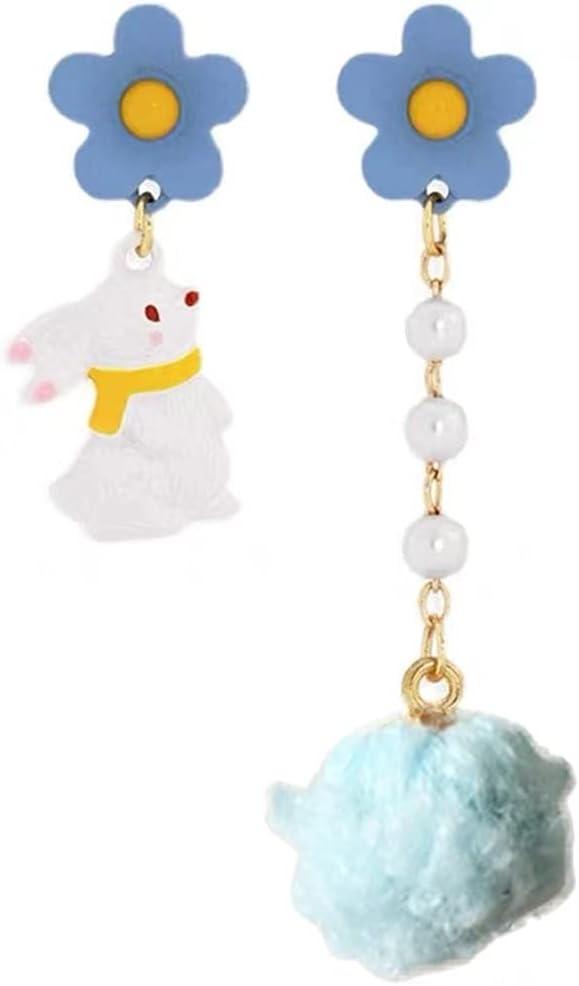 Licogel Women Earrings Rabbit Charm Decorative Pompom Pendant Earrings Clip on Earrings Artificial Pearl Floral Flower