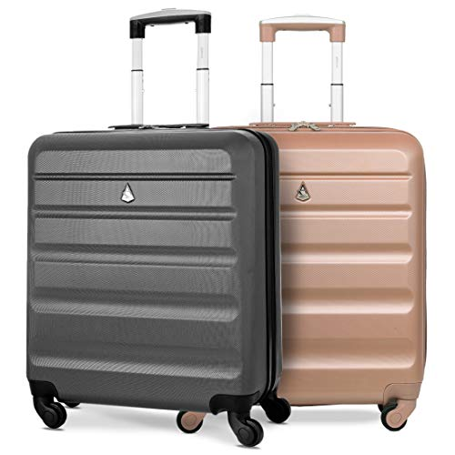 Aerolite 56x45x25 easyJet British Airways Jet2 Maximum Allowance 46L Lightweight Hard Shell Carry On Hand Cabin Luggage Travel Spinner Suitcase with 4 Wheels (Charcoal + Rose Gold)
