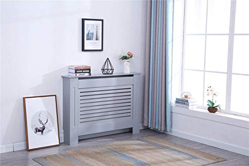 YAKOE Modern Radiator Cover Wood MDF Wall Cabinet in 4 Sizes, Engineered, Grey, Small
