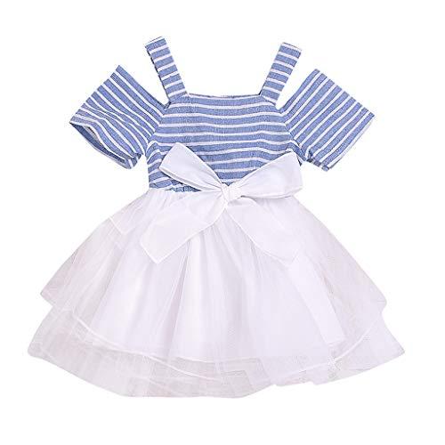 Transer Robe bébé Fille Robe rayée à épaules dénudées pour Enfants Convient aux Enfants de 0 à 5 Ans