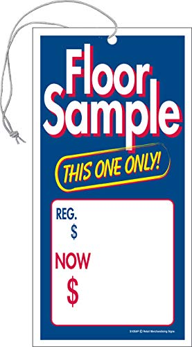 S10SAP Floor Sample Regular Price Now Elastic Knotted Price Sale Tags with Strings Merchandising Hang Tags Pack of 100 (2 5/8' x 5 1/4')