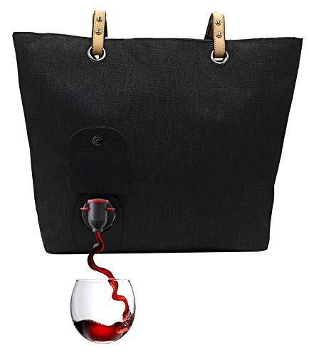 PortoVino City Wine Tote Black - Fashionable Wine Purse with Hidden, Insulated Compartment, Holds 2 bottles of Wine! / Great Gift! / Happiness Guaranteed!