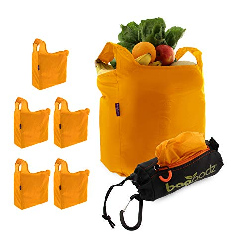 BagPodz Reusable Shopping Bags – Includes 5 Foldable Bags...