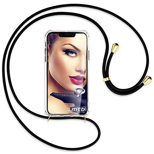 mtb more energy® Mobiele telefoon ketting voor Apple iPhone XR (6.1'') - Zwart/Goud - Smartphone hoesje met koord - Nek Tas Cover met snoer band