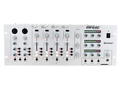 OMNITRONIC EM-640 Entertainment-Mixer   6 Line-, 2 Phono/Aux-Quellen und 2 Mikrofone   3 Zonen mit beliebiger Zuordnungsmöglichkeit aller Eingangskanäle